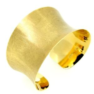Jewelry - Solid Gold Brushed Finish Concave Cuff 14kt Gold